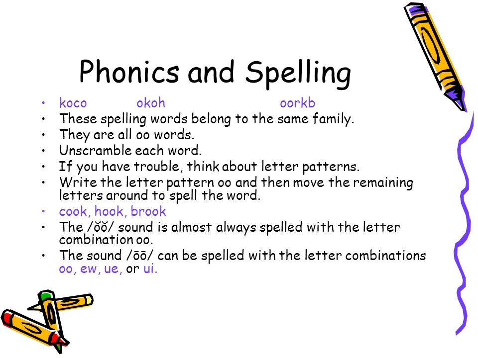 words you can spell with these letters you will need your textbook ppt 25781 | Phonics and Spelling koco okoh oorkb