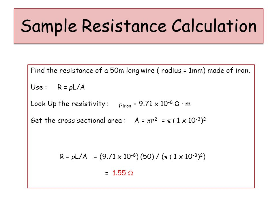 Resistance starter 2 most wires are cylindrical in shape with a sample resistance calculation greentooth Gallery