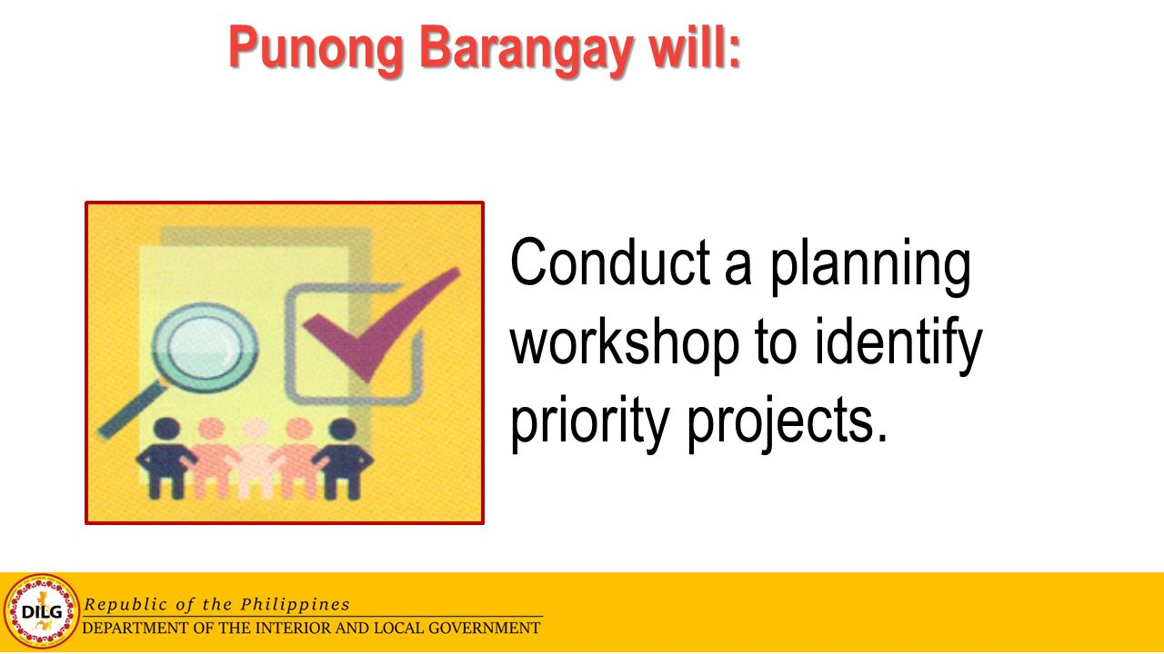 Conduct a planning workshop to identify priority projects.