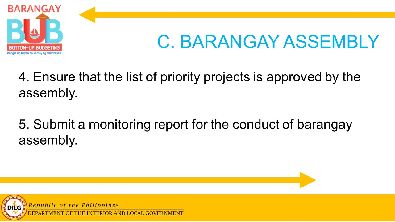 C. BARANGAY ASSEMBLY 4. Ensure that the list of priority projects is approved by the assembly.