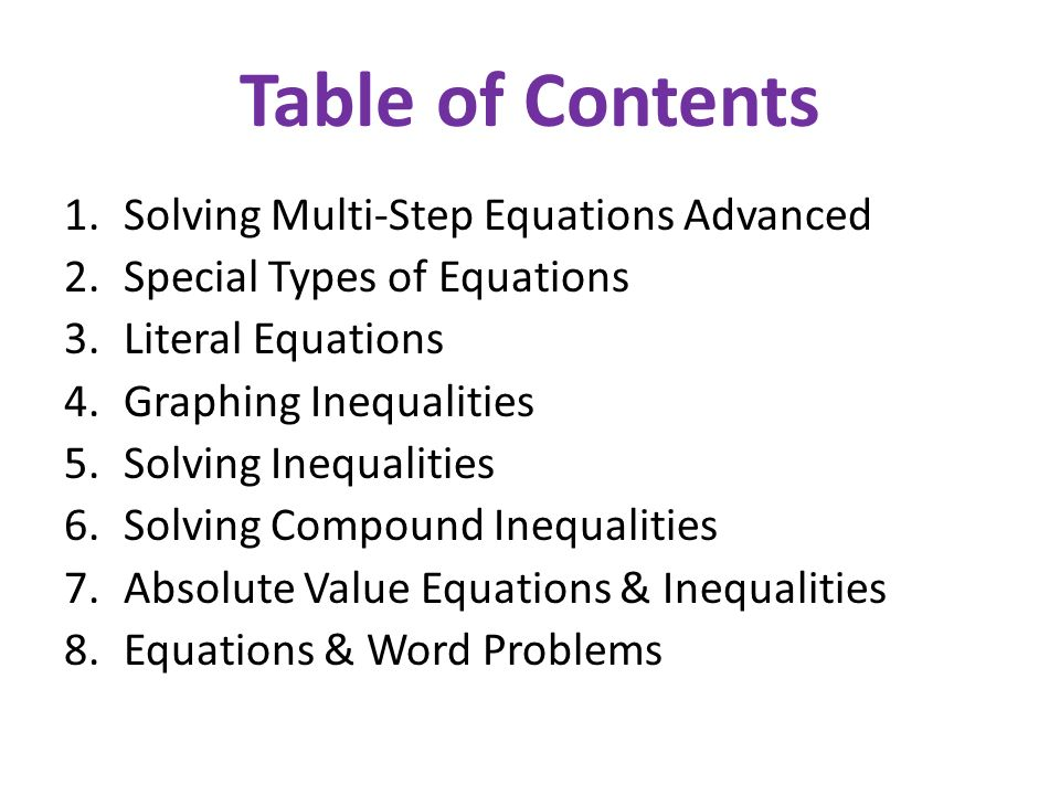 Topic 2: Solving Equations & Inequalities in One Variable