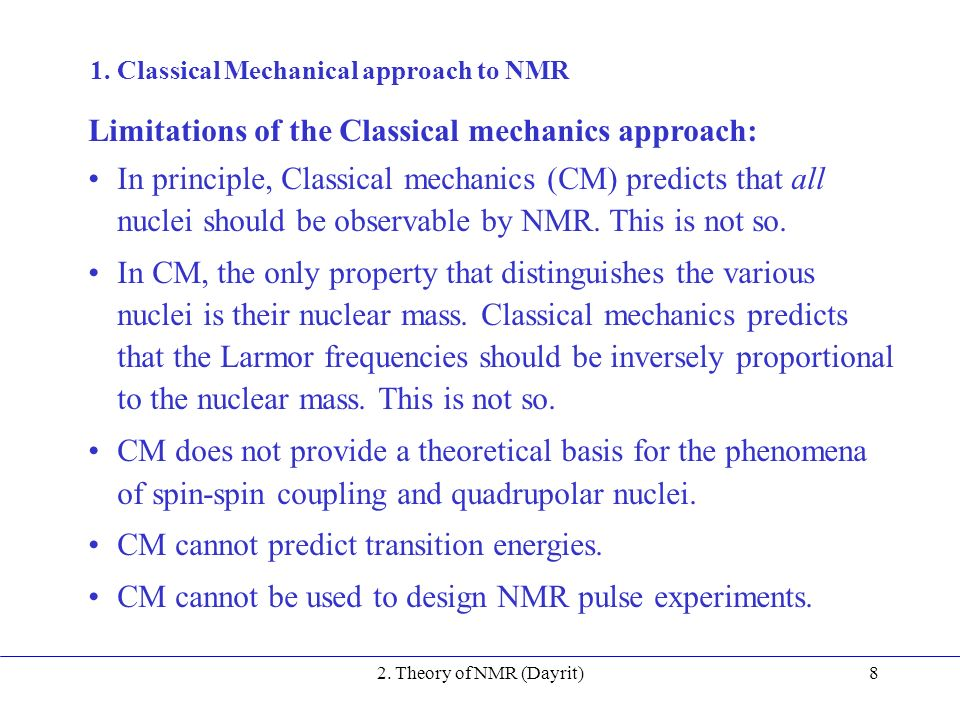 2  Theory of NMR 1  The Classical mechanical approach to NMR - ppt