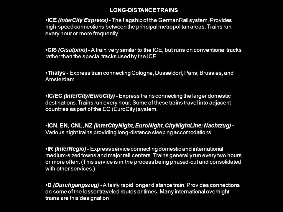 LONG-DISTANCE TRAINS