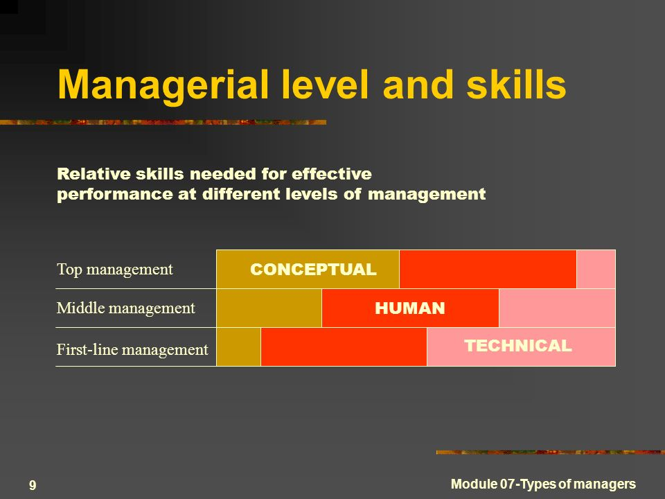9 managerial level and skills