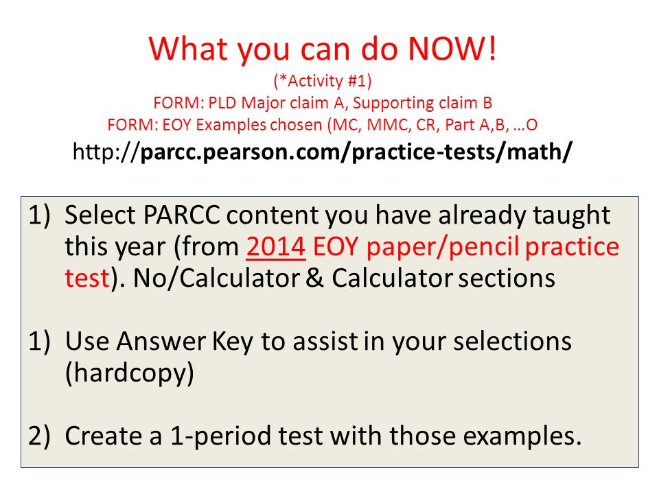 PARCC DATA is HERE! Now what? HIGH SCHOOL MATHEMATICS 2-hour