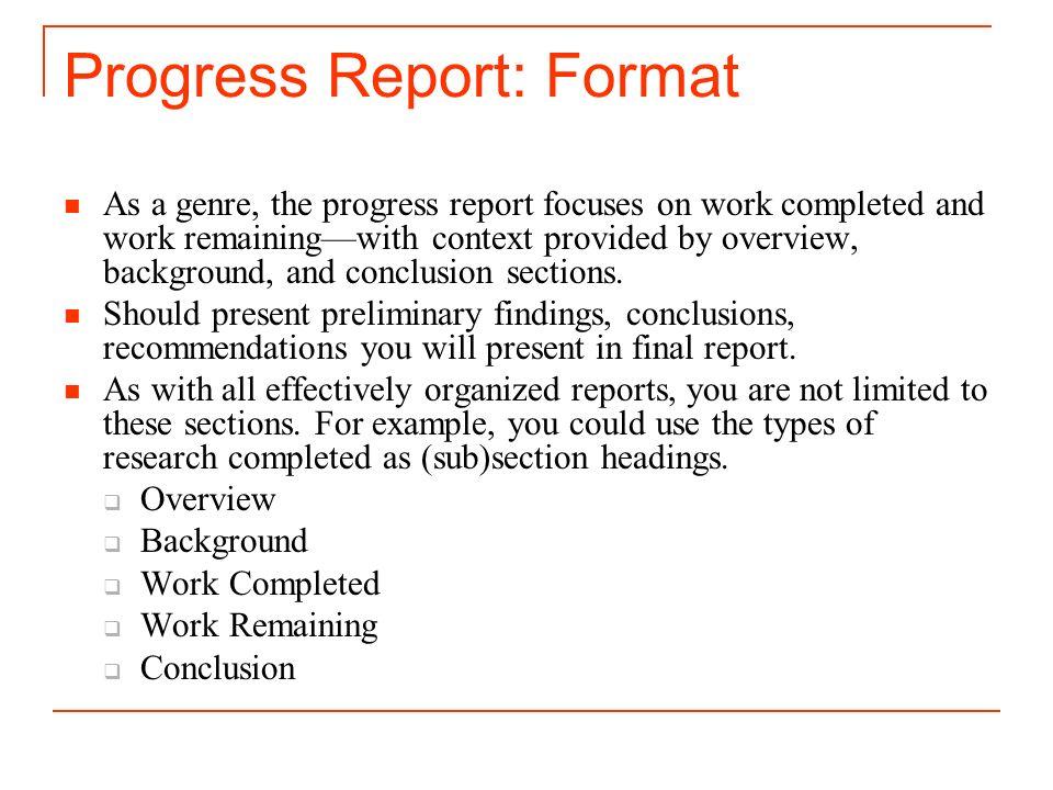 3 progress report format