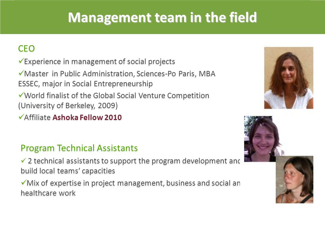 Management team in the field