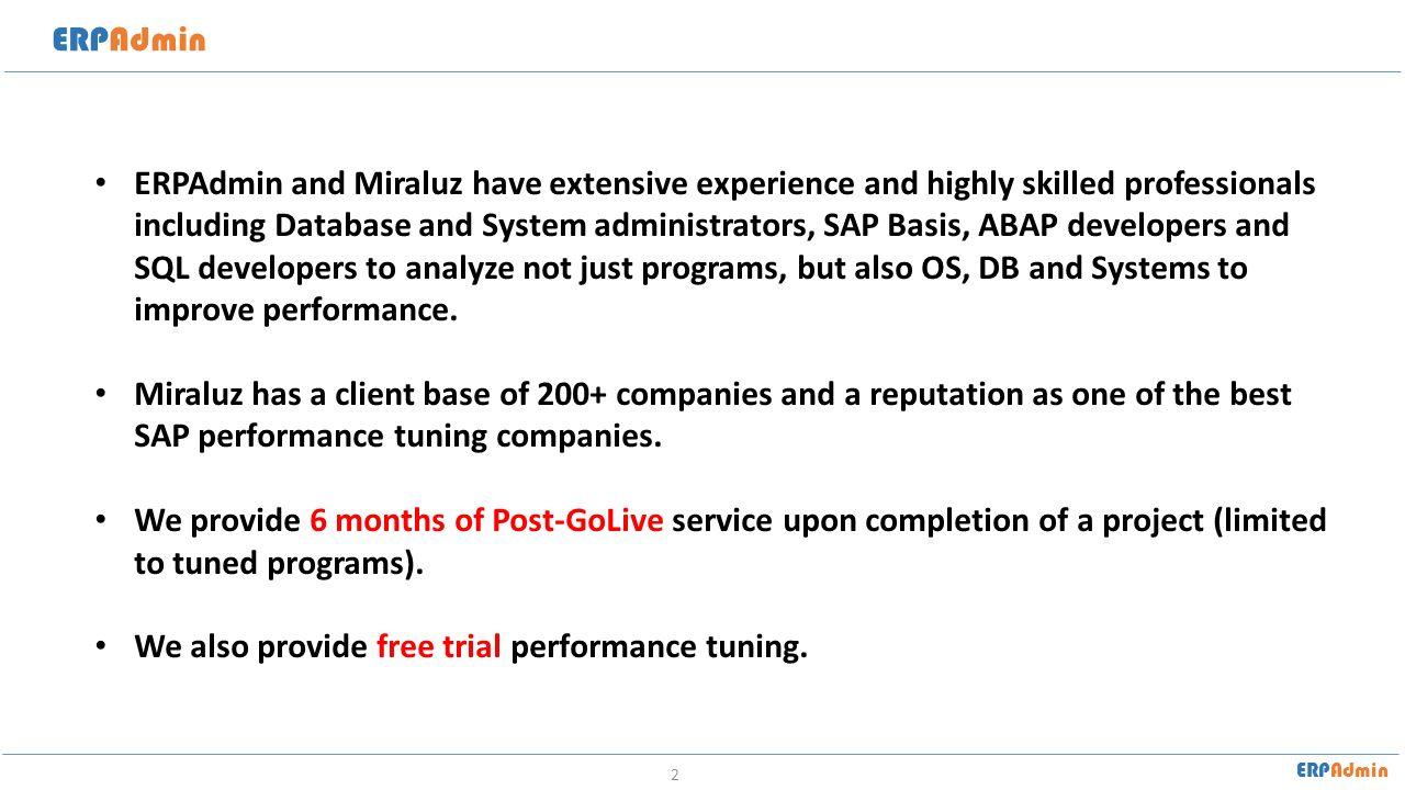 ERPAdmin SAP Performance Tuning - ppt video online download
