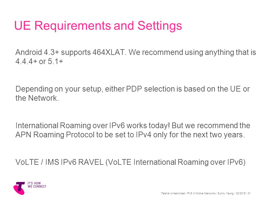 IPv6 in Mobile Networks Telstra Unrestricted - ppt video online download