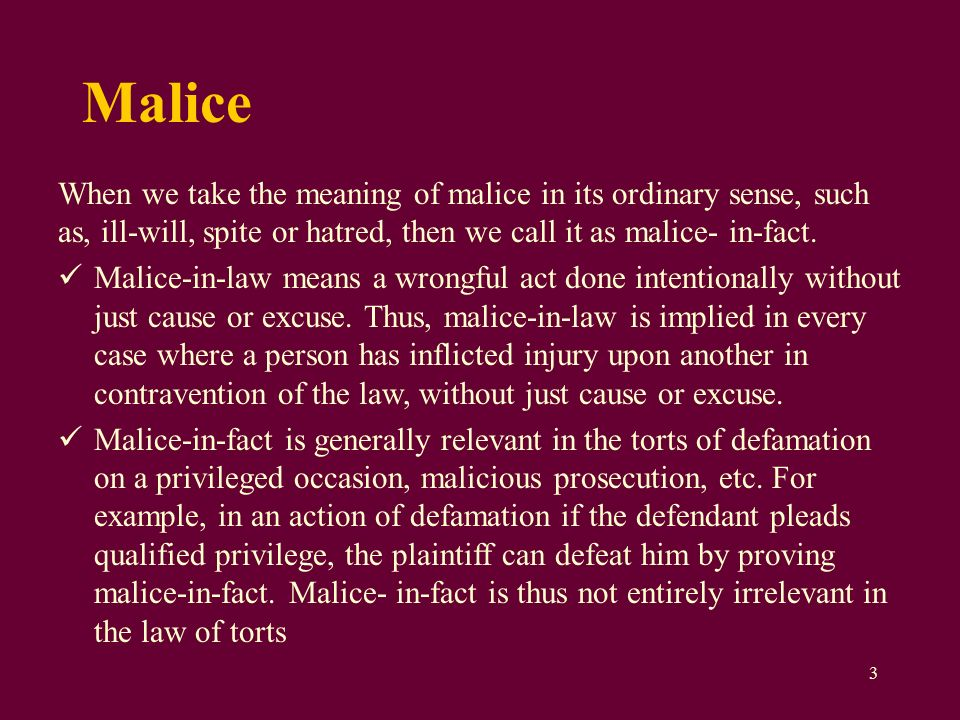 what does malice mean