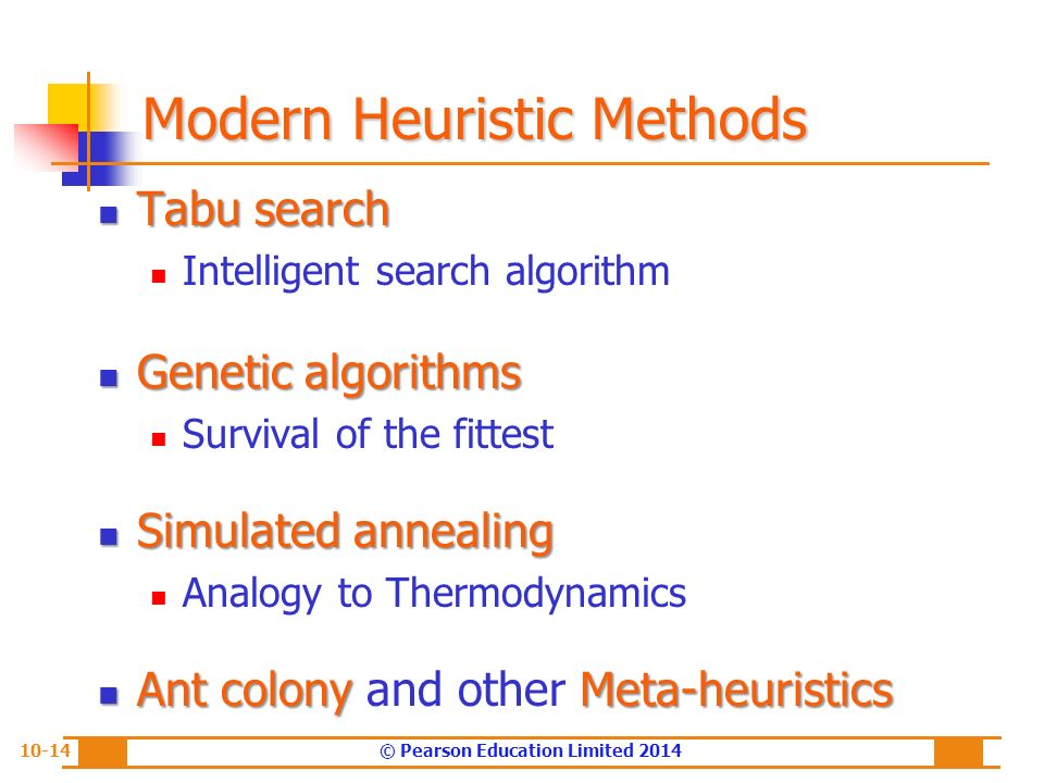 Modeling and Analysis: Heuristic Search Methods and