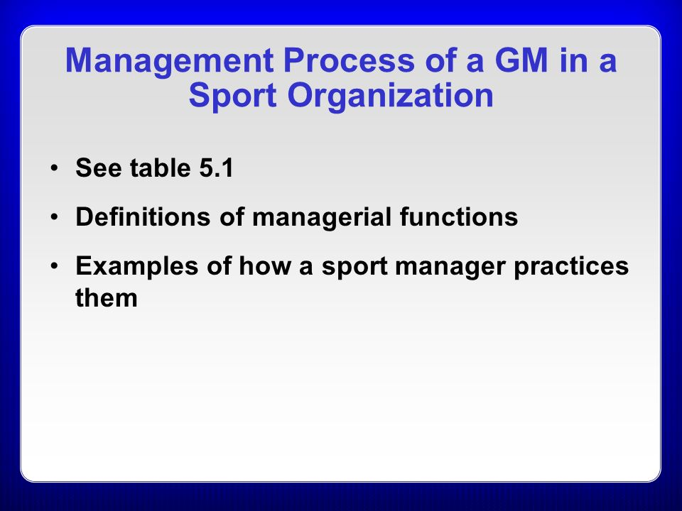 5 Managerial Leadership in Sport Organizations C H A P T E R - ppt