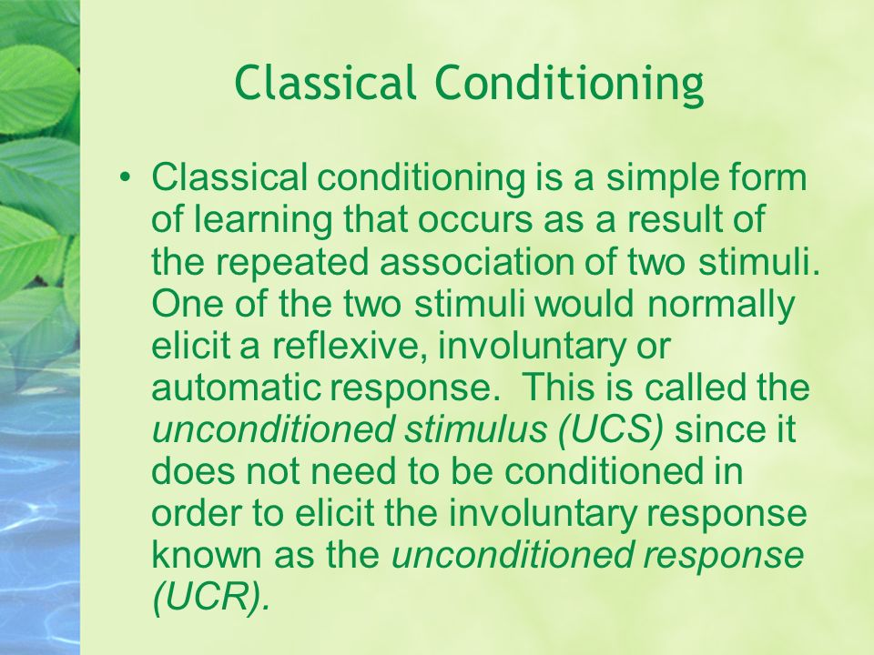 classical conditioning therapy: studying ted bundyís case essay Together with operant conditioning, classical conditioning became the foundation of behaviorism, a school of psychology which was dominant in the mid-20th century and is still an important influence on the practice of psychological therapy and the study of animal behavior.