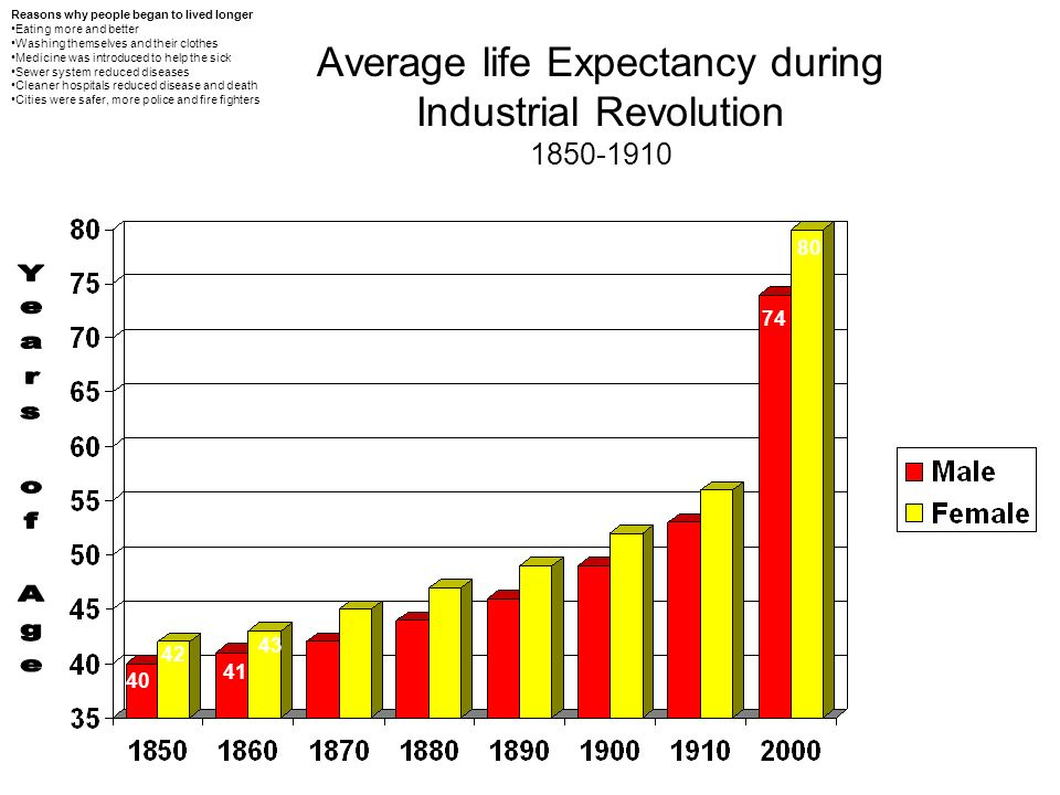 during the industrial revolution life expectancy