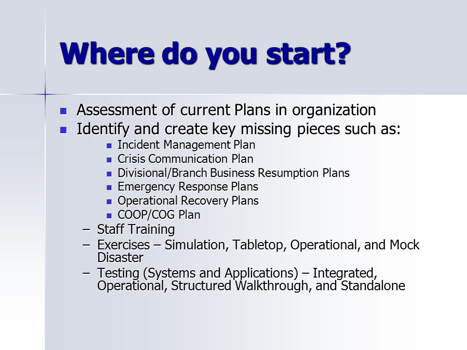 Business continuity disaster planning ppt video online download where do you start assessment of current plans in organization friedricerecipe Images