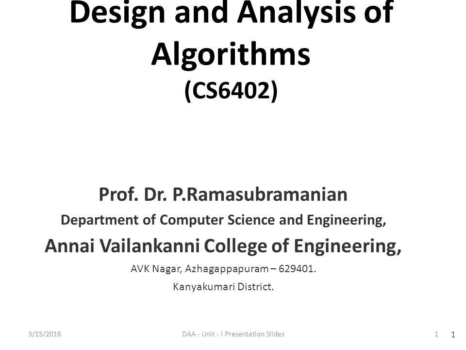 Design And Analysis Of Algorithms Ppt Download