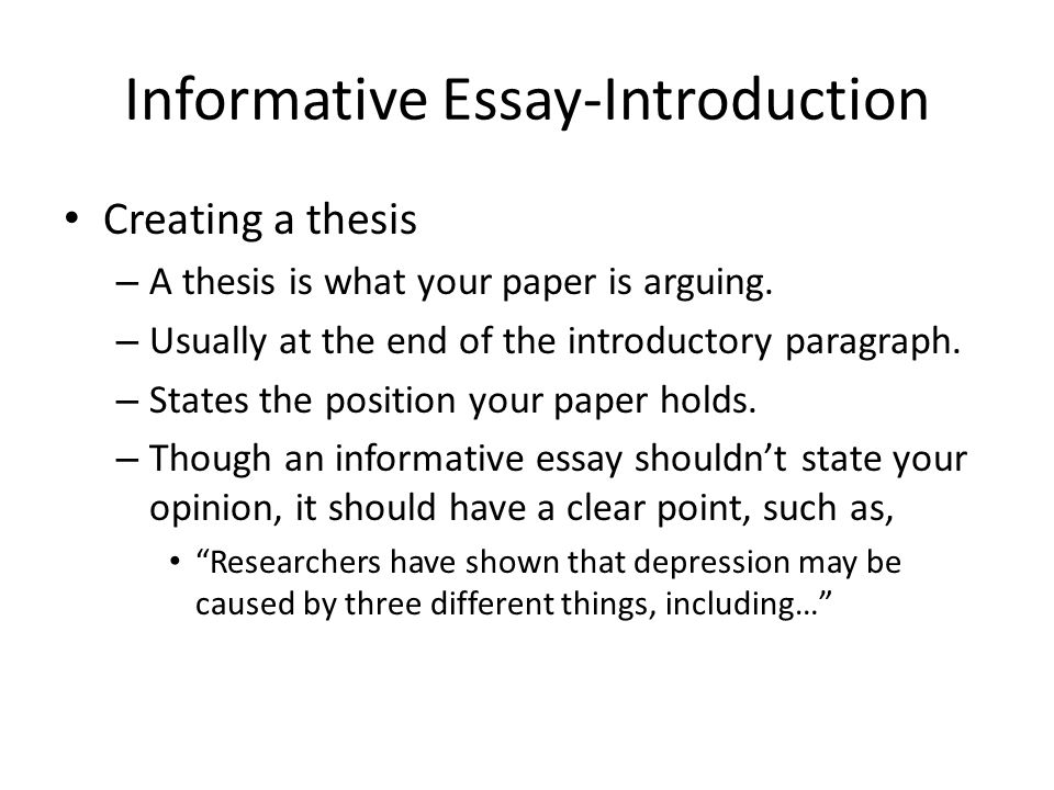 What Is An Essay Thesis Informative Essayintroduction English Essay Topics For College Students also Persuasive Essays Examples For High School Informative Essay An Introduction  Ppt Video Online Download Good Science Essay Topics