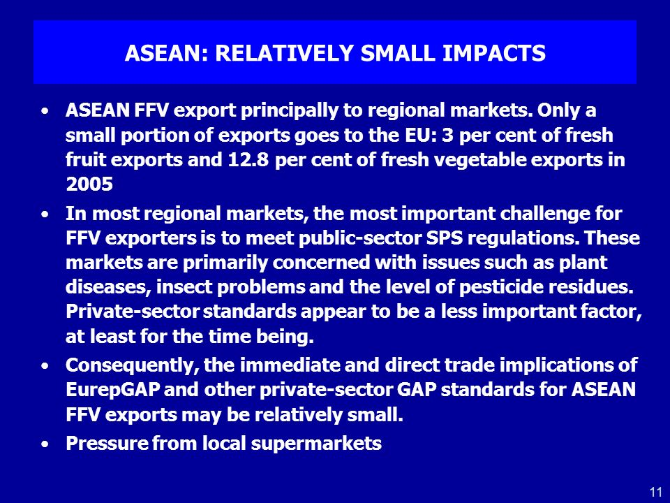 ASEAN: RELATIVELY SMALL IMPACTS