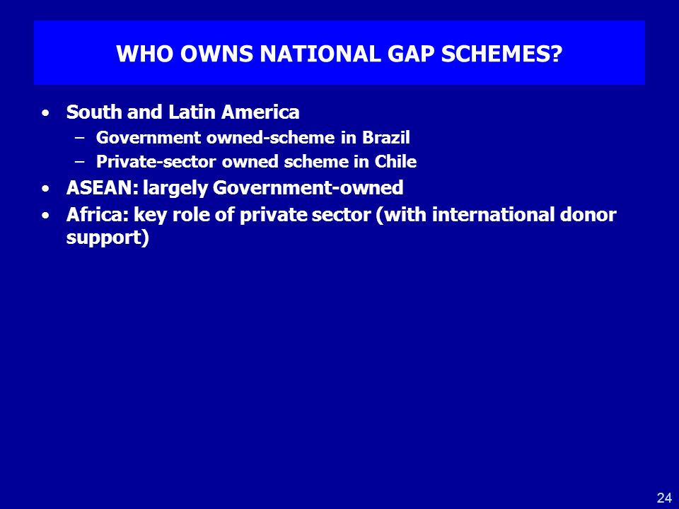 WHO OWNS NATIONAL GAP SCHEMES