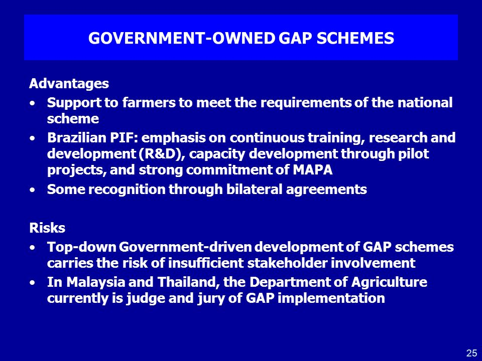 GOVERNMENT-OWNED GAP SCHEMES