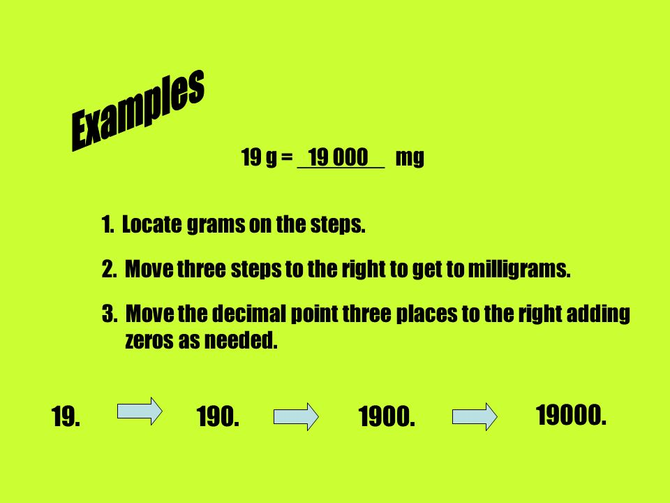 Examples 19 g = _______ mg Locate grams on the steps. 2. Move three steps to the right to get to milligrams.