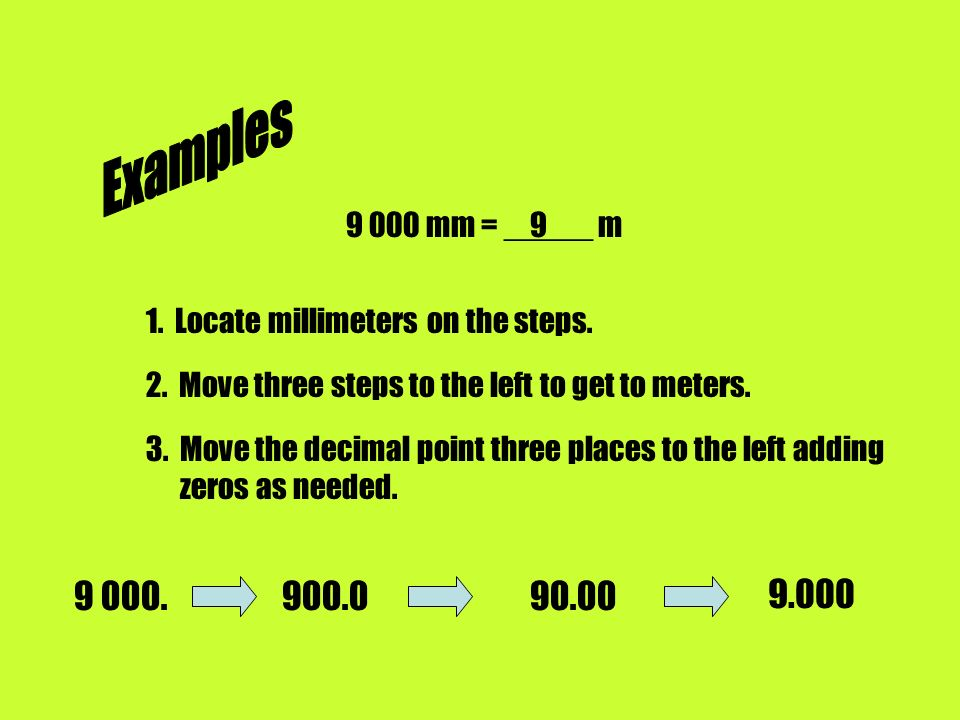 Examples mm = _____ m Locate millimeters on the steps. 2. Move three steps to the left to get to meters.