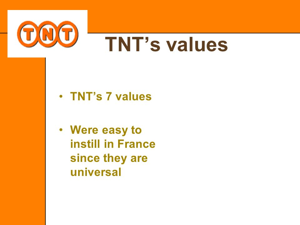 TNT's values TNT's 7 values