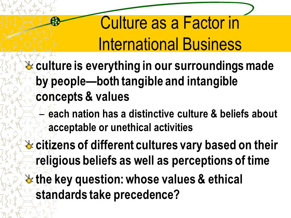 sociocultural factors affecting international business What are examples of sociocultural factors sociocultural factors are customs, lifestyles and values that characterize a society or group cultural aspects include concepts of beauty, education, language, law and politics, religion, social organizations, technology and material culture, values and.