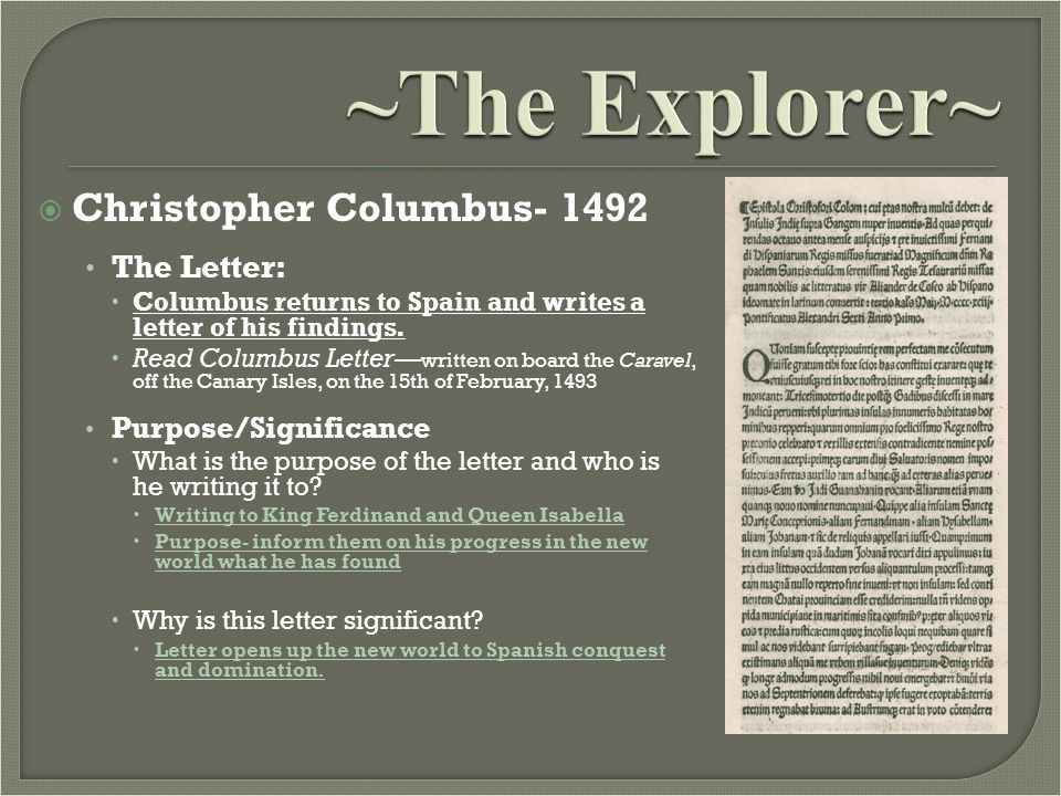 Christopher Columbus Letter To King Ferdinand.Christopher Columbus Mr Barchetto Notes 2 Ppt Video