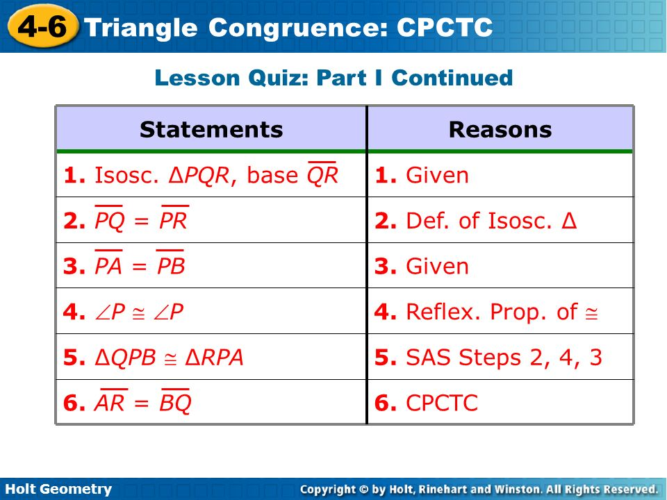 4 6 Triangle Congruence CPCTC Holt Geometry Ppt Download