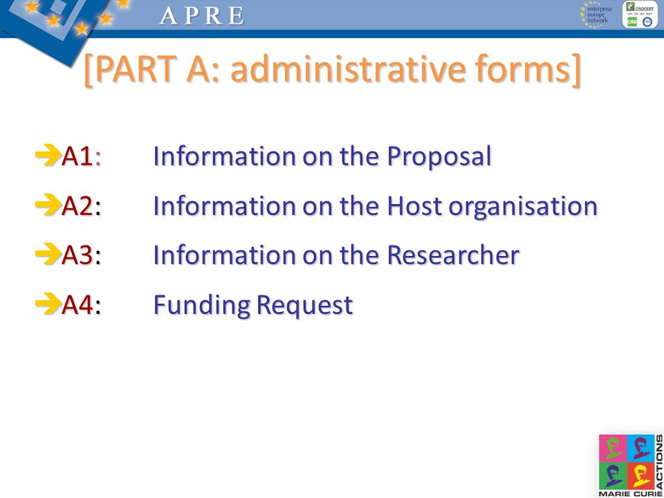 [PART A: administrative forms]