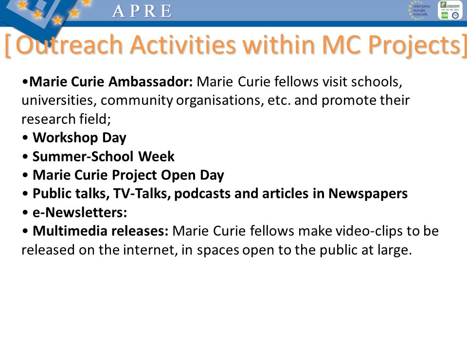 [ Outreach Activities within MC Projects]