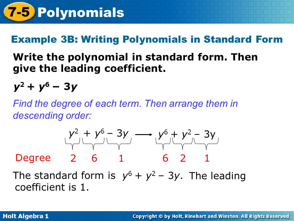 7 5 Polynomials Warm Up Lesson Presentation Lesson Quiz Holt Algebra