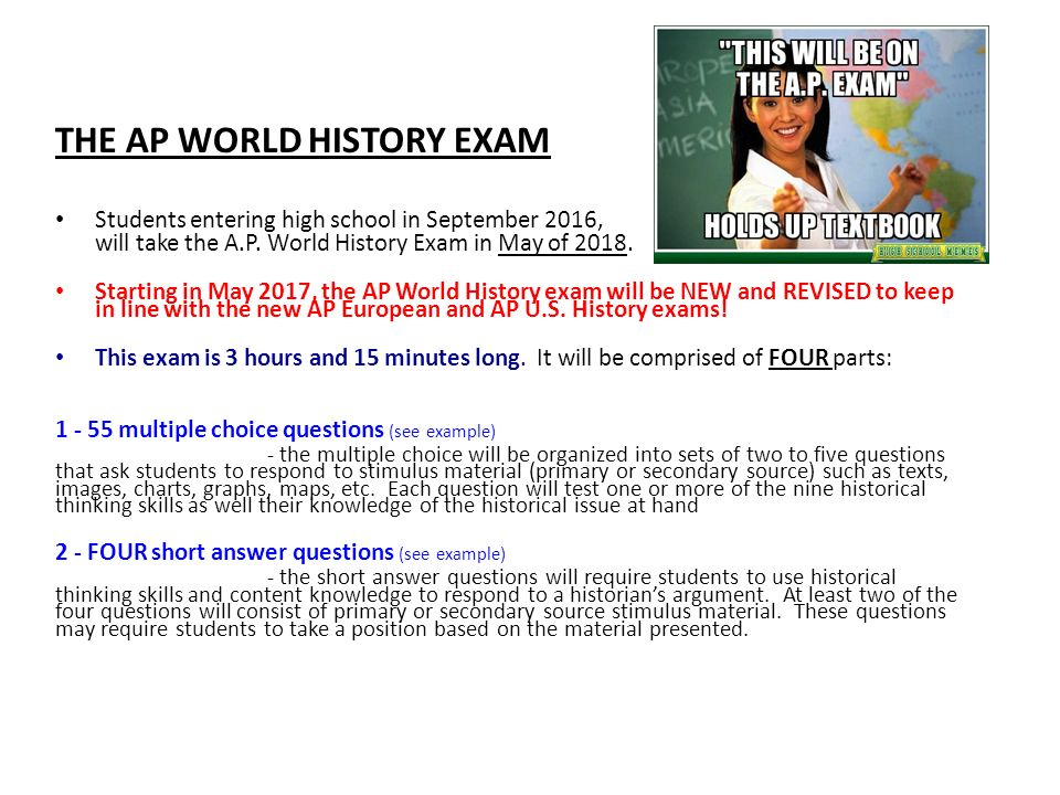 THTHE In World History THE AP WORLD HISTORY EXAM