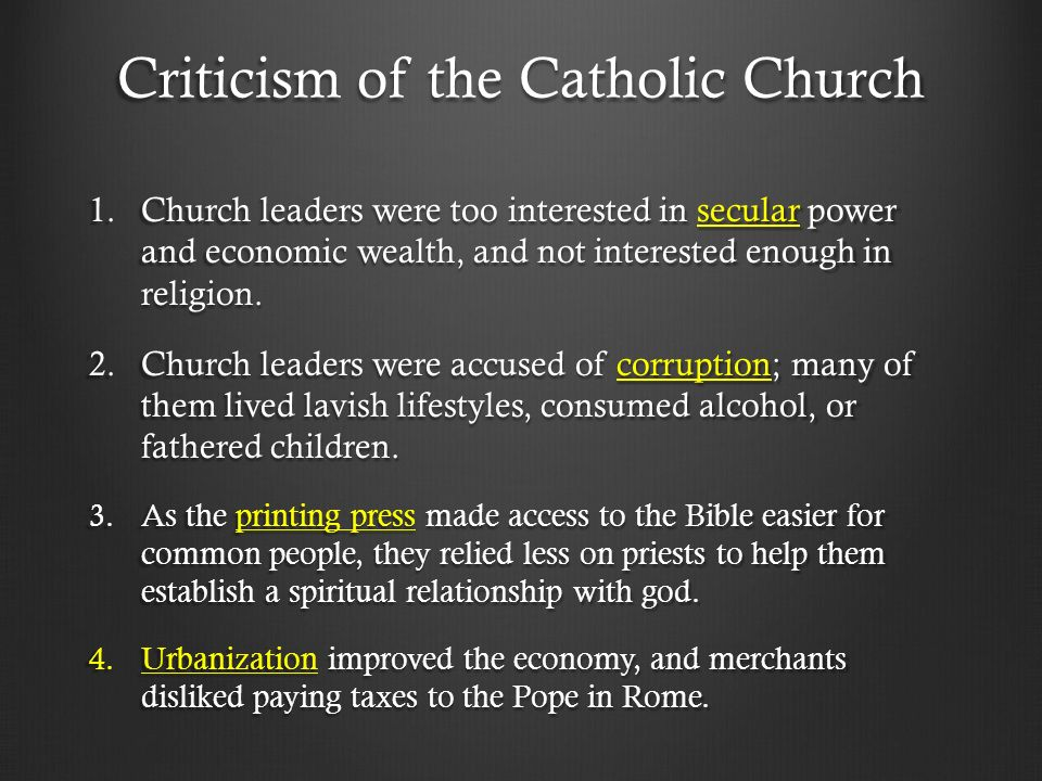abuses of the catholic church before the reformation