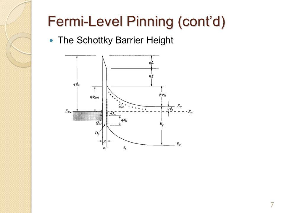 Fermi Level Pinning Schottky Barrier Height