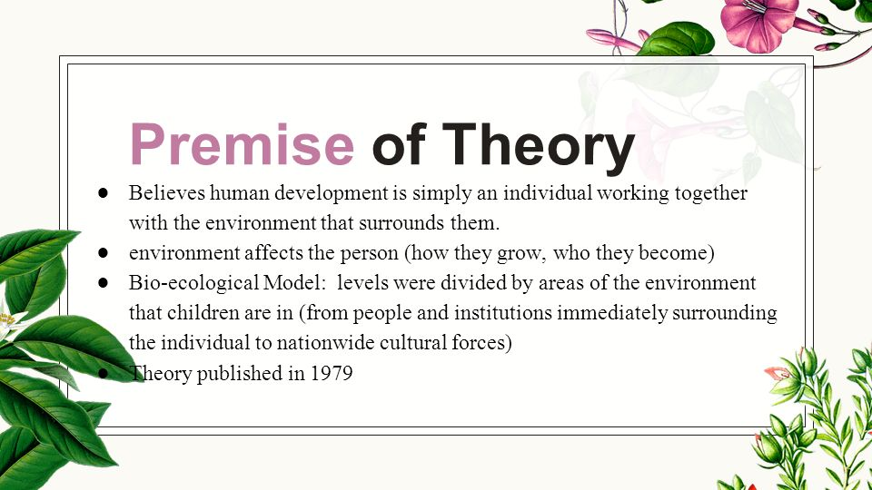 briefly overview the basic premise of eriksons theory Presentation summary : erikson's psychosocial theory of development  according to erikson's theory, every person must pass through a series of eight interrelated stages over  psychosocial theory basic characteristics biopsychosocial premise describes and explains the developmental process throughout the lifespan the epigenetic.