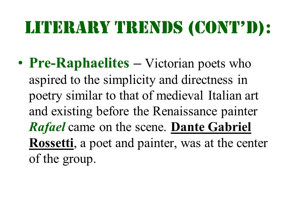 new trends in english literature