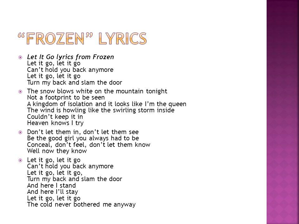 Lyric frozen let it go lyrics : Rhyme, Rhythm & Repetition - ppt video online download