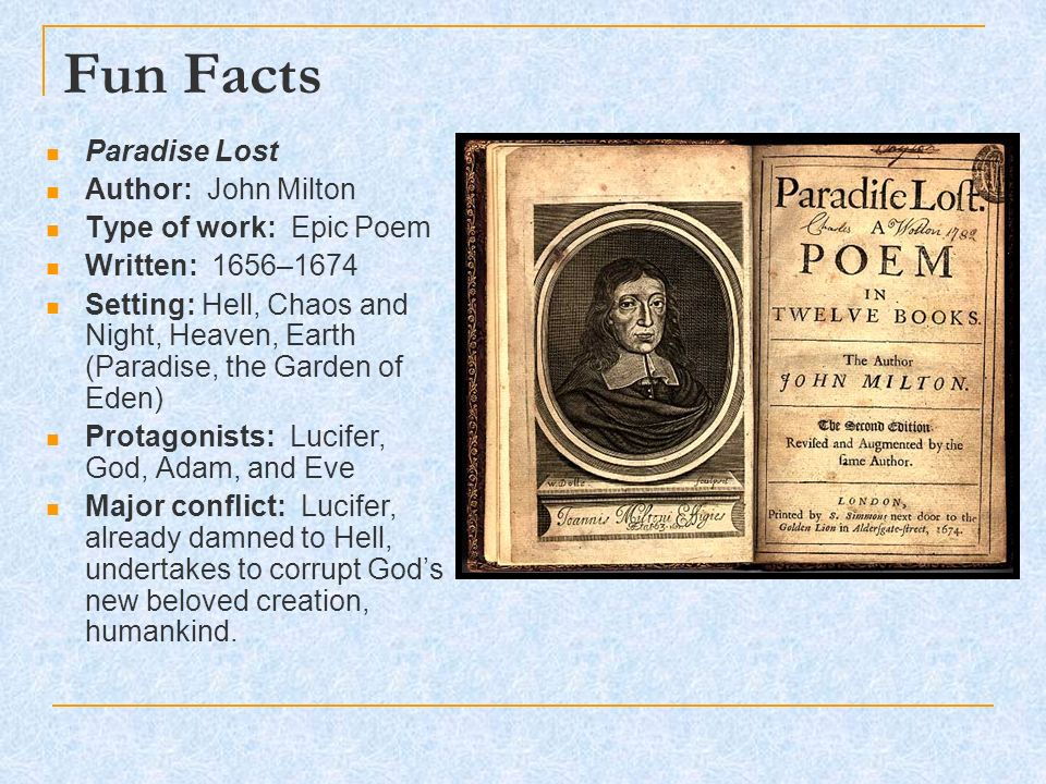 An analysis of paradise lost as an epic poem based on the biblical story of adam and eve by john mil