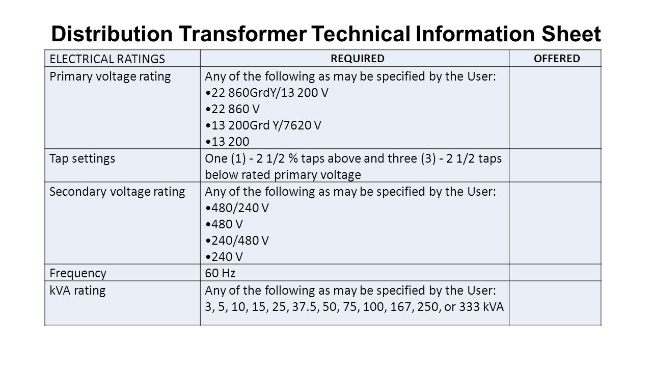 Nea Specifications On Distribution Transformers Ppt Video Online 3 Phase Delta Wye Transformer Wiring Diagram Technical Information Sheet