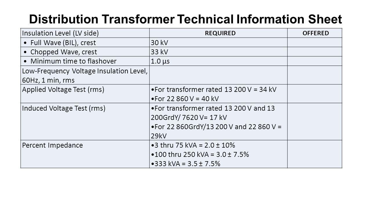 12 Distribution Transformer Technical Information Sheet