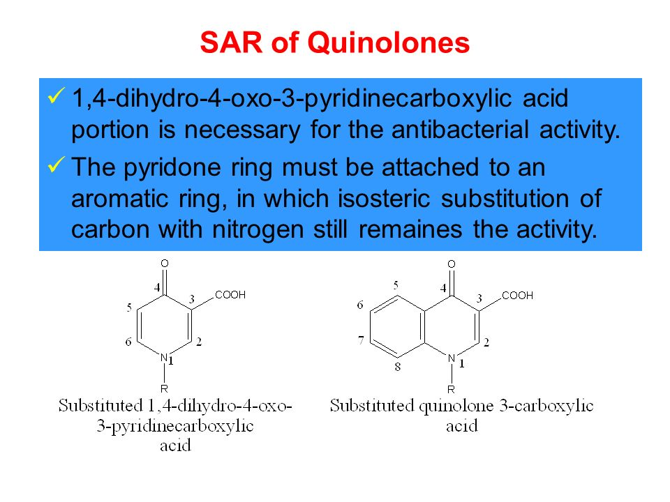 SAR of Quinolones 1,4-dihydro-4-oxo-3-pyridinecarboxylic acid portion is necessary for the antibacterial activity.