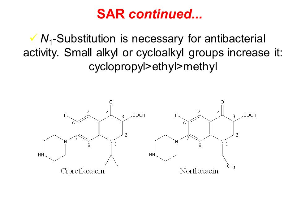SAR continued... N1-Substitution is necessary for antibacterial activity.