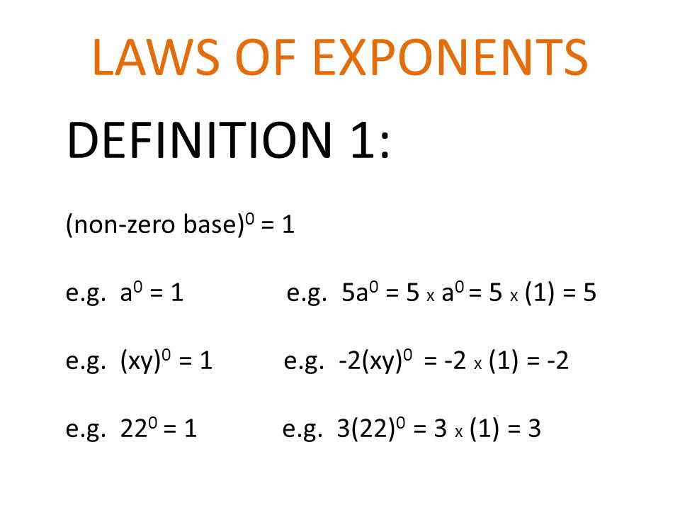 Laws Of Exponents Definition 1 Non Zero Base 0