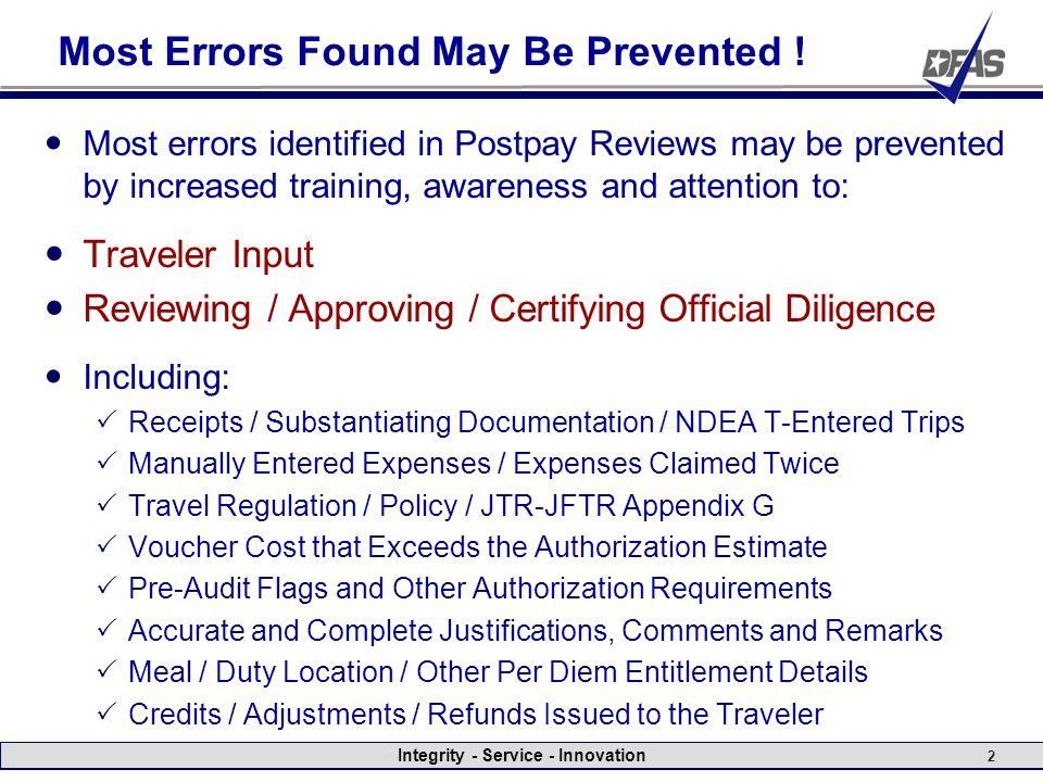 Dts Postpay Review Examples Of Common Errors Fy10 Ppt Video