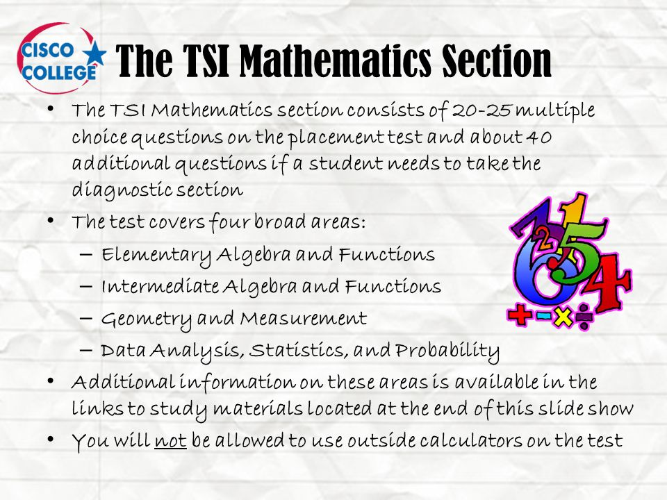 cisco college tsi test pre assessment activity ppt video online rh slideplayer com tsi math study guide pdf tsi math study guide free