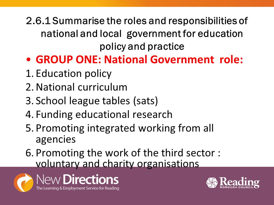 role of national government in education