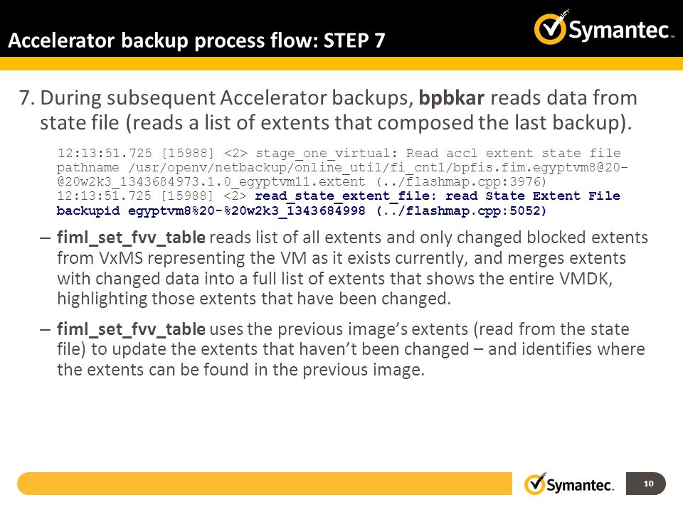 Accelerator backup process flow: STEP 7