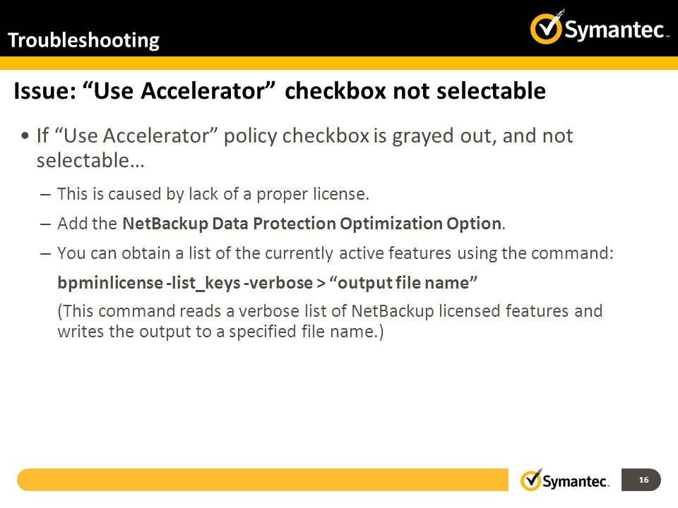 Issue: Use Accelerator checkbox not selectable
